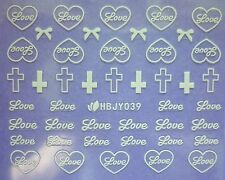 Nail Art Stickers Decals Transfers Valentines WHITE Love Hearts Bows Lace (39W)