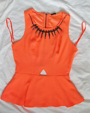 BEBE NEON SPIKE NECKLACE CUT OUT PEPLUM NEW NWT TOP LARGE L