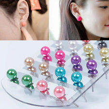 Chic Hot 12 Pairs Colorful Pearls Ear Stud Earrings Set with Display Stand