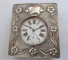 1900 METAL CASED GOLIATH 8 DAY POCKET WATCH IN SILVER FRONTED CASE WORKING