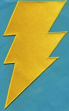 """SHAZAM / CAPT MARVEL 6""""x10"""" Large Fully Embroidered Yellow Chest Insignia Patch"""