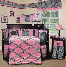 Baby Boutique - Pink Minky Zebra - 15 pcs Nursery Crib Bedding Set