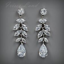White Gold Plated Cubic Zirconia CZ Wedding Bridal Drop Dangle earrings 8524 New
