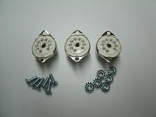 CERAMIC 9 pin 12AX7 tube sockets, BOTTOM MOUNT, with mounting hardware, 3 pcs.