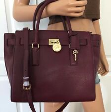 Michael Kors Hamilton Traveler Large Leather Shoulder Handbag Bag Purse Merlot
