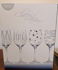 CHEERS METALLICS SET OF 4 Silver WINE GLASSES BY MIKASA ~ NEW!