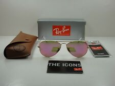 NEW AUTHENTIC RAY BAN AVIATOR CLASSIC RB3025 112/4T 58 GOLD / PINK Flash