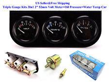 """Triple Gauge Kits 3In1 2"""" 52mm Volt Meter+Oil Pressure+Water Temp Car Auto Meter"""