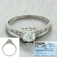 1920s Antique Art Deco Solid Platinum .50ct Diamond Engagement Ring EGL