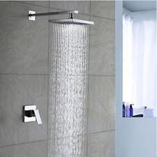 "Chrome Finish Wall Mounted 8"" Rainfall Shower Set Faucet Single Handle Mixer Tap"