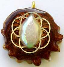 "Third Eye Pinecones - 2"" Druzy Quartz w/ The Seed of Life Pendant - Handcrafted"