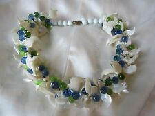 VINTAGE IMPRESSIVE  POURED GLASS AND SHELL BIB NECKLACE