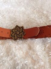 "Wide Leather Belt, Brown Hand Tooled 49""Long Ladies XL 3"" Brass Buckle XL"