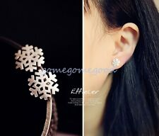 925 Sterling Silver - Snowflake Korea Simple Party Mini Women Earrings Jewelry