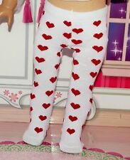 "For 18"" American Girl Doll White Tights with Red Hearts, Clothes / Accessories"