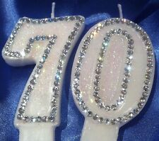 Seventy Birthday (70th) CANDLE (or Any Two Digit) Diamante Topper Party FREEPOST