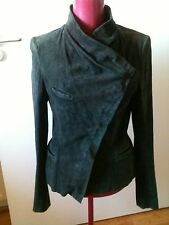 Isabel Marant Charcal Grey Lambskin Velvet Suede Fitted Jacket Suit uk 8-10