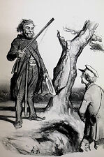 Honore Daumier c1950 - UNLUCKY HUNTERS w RIFLES Meet in the WOODS Print Matted
