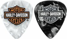 Harley Davidson WHITE / BLACK Perloid Guitar Picks HEAVY Gauge 6 PACK