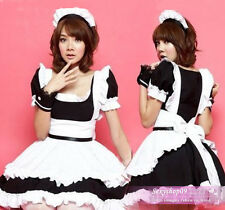 Sexy French Maid Princess Cosplay Halloween Costumes Fancy Dress Outfits Black