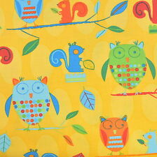 Animal Party Too Earth Owls by Amy Schimler for Robert Kaufman, 1/2 yard fabric
