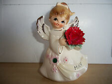 VINTAGE LEFTON JAPAN BIRTHDAY ANGEL MAY JEWELED PORCELAIN FIGURINE #6224