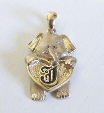 Vintage Elephant Heart Enamel Initial J Pendant Moveable Charm 14k Yellow Gold