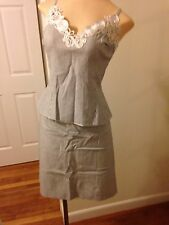 Jiki Ladies Three Piece Skirt Suit Blue and White Size 42