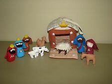 Soft sculpture NATIVITY 11pc kings Mary Joseph Baby Jesus animals stuffed