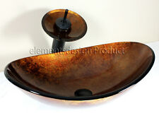 Bathroom  Artistic Oval B9052M4 Glass Vessel Sink  Matching waterfall combo