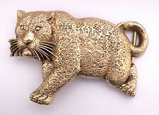 1979 Cat Leopard Jaguar Tiger Lion Cheetah Solid Brass Vintage Baron Belt Buckle