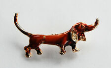 VINTAGE METAL ENAMEL DACHSHUND DOG BROOCH BROWN (some paint chips)