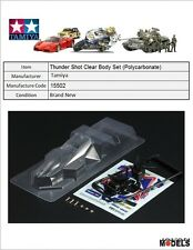 Mini 4wd THUNDER SHOT CLEAR BODY SET (POLYCARBONATE - LEXAN) Tamiya 15502 New