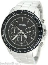 NEW FOSSIL SILVER ALUMINIUM,BLACK CHRONOGRAPH DIAL,TACHYMETER WATCH-CH2751