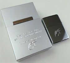 Hunter S Thompson Signed Quote Metal Cigarette Case and Lighter Smokers Set