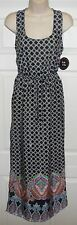 NEW BeBop Black White Multi Sleeveless Racer Back Long Boho Maxi Dress Jrs S NWT