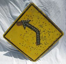 Vintage Reflector Caution Road Arrow Jeweled Sign