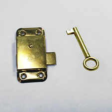 2.5 Inch 65mm Brass Door Lock & Key For Wardrobe Cupboard Cabinet Desk Drawer