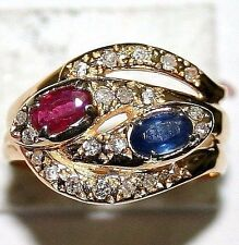 ANTIQUE VICTORIAN 18k GOLD RUBY SAPPHIRE DIAMOND 2 INTERTWINED SNAKE LUCKY RING