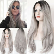 """20""""Heat Resistant Lace Front Wig Synthetic Ombre Gray Natural Straight Hair Wigs"""