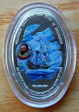 Zambia 2000 Sir Francis Drake 1000 Kwacha Oval Coloured Coin With COA #