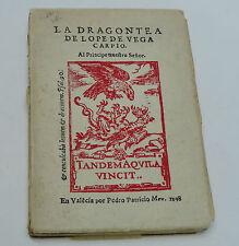 RARE BOOK LOPE DE VEGA CAPRIO LA DRAGONTEA 1935