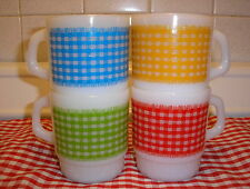FIRE KING MILK GLAS RED YELLOW GREEN BLUE CHECKED COFFEE MUGS CUPS SUPER NICE