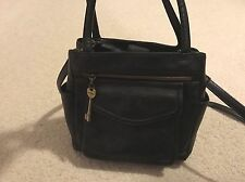 Fossil Purse w/ Key Black  Baguette Soft Leather Tote Convertible Messenger