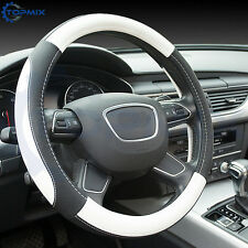 BLACK WHITE PU LEATHER UNIVERSAL CAR/VAN STEERING WHEEL COVER/GLOVE/PROTECTOR