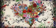 Hand-painted MODERN ABSTRACT WALL ART OIL PAINTING ON CANVAS Flower Heart 24x48""