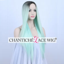 Ombre Dark Roots&Mint Green Synthetic Wigs Straight Machine Made Wig Heat Good