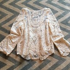 New Anthropologie Cream Eyelet Crochet Lace Detail Boho Blouse Top - Medium