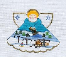 SP.ORDER ~ Ski Resort Angel & Charms handpainted Needlepoint Canvas Painted Pony