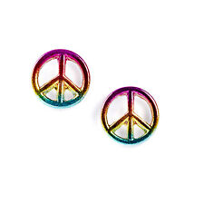 Claires Girls and Womens Peace Symbol Stud Earrings